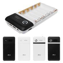 Dual USB QC 3.0 6X18650 แบตเตอรี่DIY Power Bankกล่องไฟLED DC DC 9V 12VสำหรับiPhone Xiaomiโทรศัพท์มือถือแท็บเล็ต