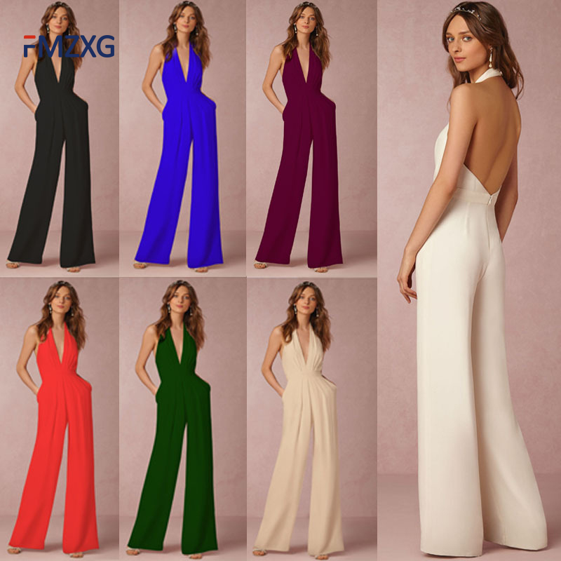 Summer Jumpsuit Romper Women Overall Sexy Deep V Bodycon Tunic Jumpsuit Elegant Wide Leg Pant Office Lady Body Femme Playsuit