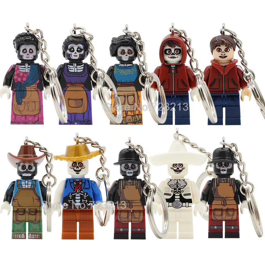 Single Sale Hector Rivera Miguel Figure Keychain Mexico Movie Coco Rosita Imelda Model Building Blocks Kits Brick Toys Key Ring