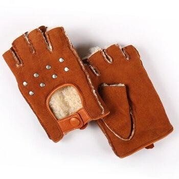 Genuine Leather Gloves for Women Fingerless Fashion Sheepskin Wool One Winter Half Finger Driving Soft New Arrival