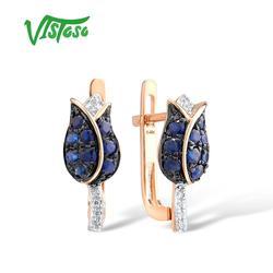 VISTOSO Reine 14K 585 Rose Gold Ohrringe Für Frauen Glänzende Diamant Blau Sapphire Luxus Hochzeit Engagement Elegante Feine Schmuck