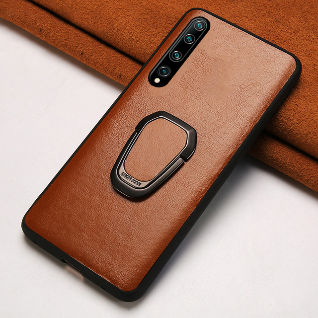 $ US $11.98 Genuine Oil Wax Leather Phone Case For Xiaomi Mi 10 10 pro 9 Lite 9t 8 A3 A2 Kickstand Bracket Cover For Redmi Note 8 pro 8T 7 5