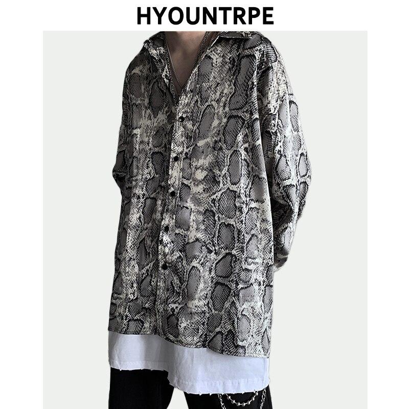 Homme serpent imprimé chemise Hip Hop Streetwear décontracté manches longues Turn Down col lâche simple boutonnage chemises automne mode chemise
