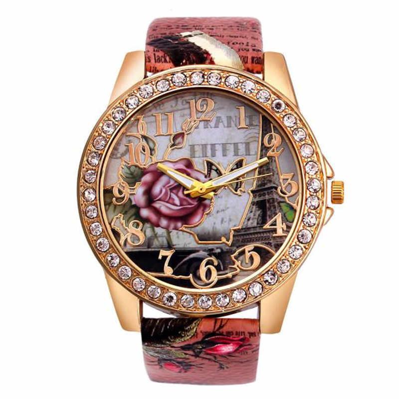 ساعات نسائية فاخرة كريستال كوارتز ساعة معصم حلقة من جلد الورد نمط رواج فستان للسيدات هدية عيد الحب zegarek damski