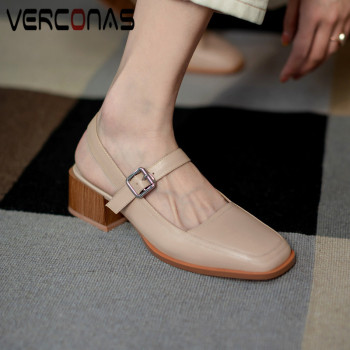VERCONAS 2020 Fashion Woman Sandals Woman Pumps Genuine Leather New Arrival Party Pumps Square Toe Square High Heels Shoes Woman