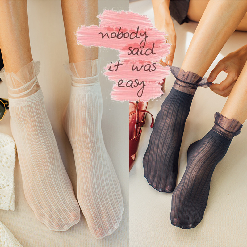 Transparent Lace Thin Ladies Socks Sweet Velvet Sexy Japanese Summer Women Long Socks Female Dress Hosiery New Fashion Striped