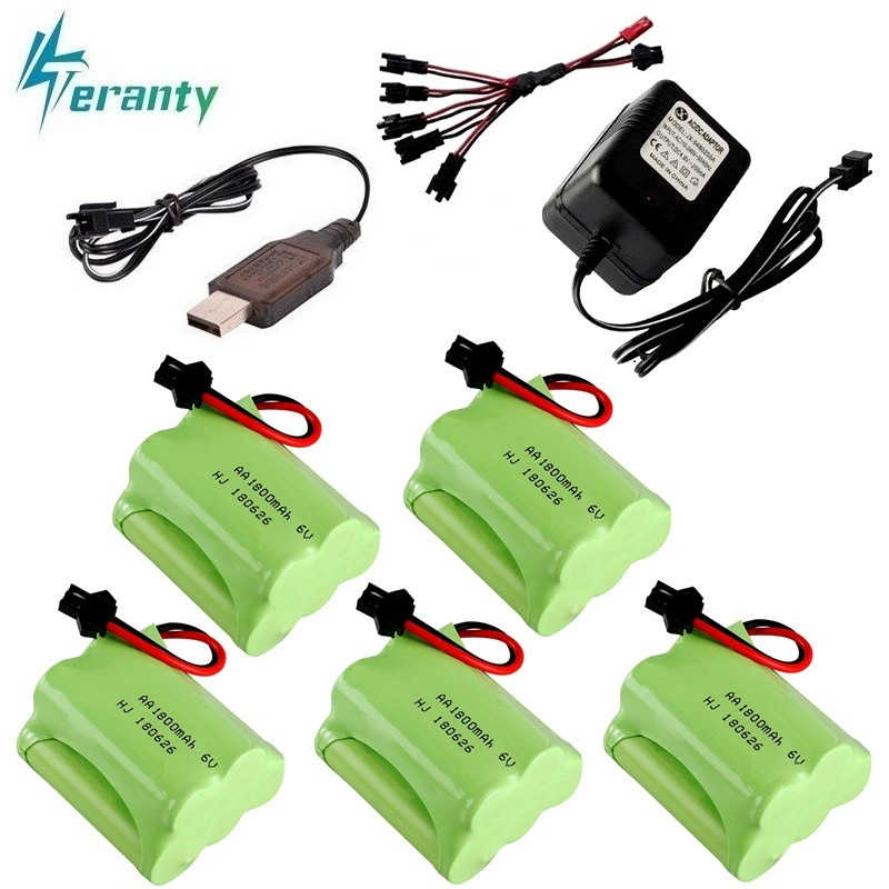(SM Plug) Ni-MH 6v 1800mah Battery + USB Charger For Rc toys Cars Tanks Robots Boats Guns 5* AA 6v Rechargeable Battery Pack