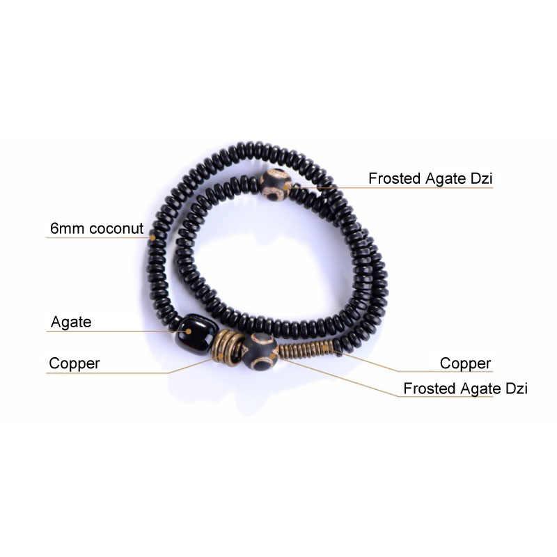 Handmade Coconut Multilayer Bracelet Men Black Onyx Mixed Dzi Bracelet For Women Creative Spiritual Bracelets Gift for Him AT-03