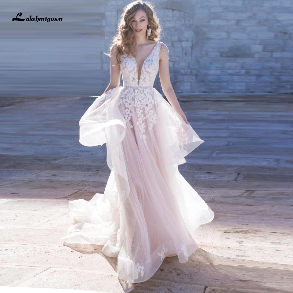 Lakshmigown V Neck Wedding Dress Sexy A Line Bridal Gowns 2020 Vintage Lace Ruffles Pink Tulle Mariage Wedding Gowns