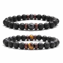 Fashion Lava Stone Bracelet Men Natural Moonstone Bead Chakra Bracelet Male Charm Diffuser Bracelets Heren Armband Jewelry Gift