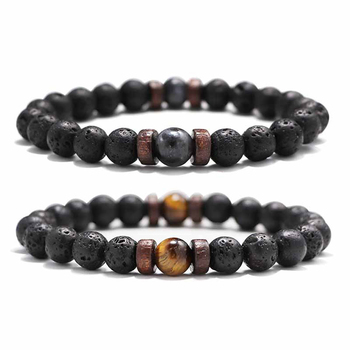 Fashion Lava Stone Bracelet Men Natural Moonstone Bead Chakra Bracelet Male Charm Diffuser Bracelets Heren Armband Jewelry Gift