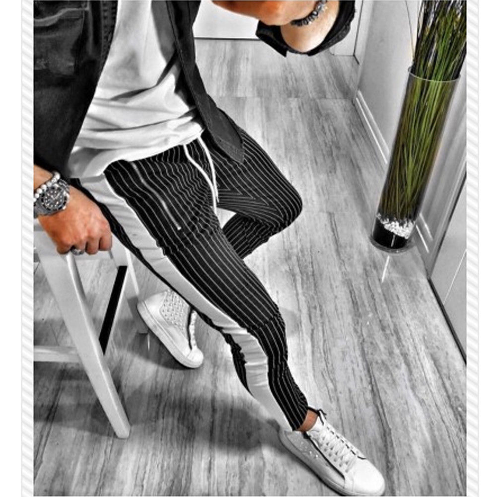 New Stripe Men's Hipster Jogger Elastic Gym Fitness Workout Track Skinny Straight Casual Trousers Slim Fitness Long Pants M-2XL