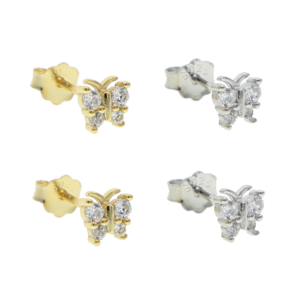 Minimal minimalist 925 silver jewelry tiny small cz animal 5mm cute lovely butterfly stud earring 925