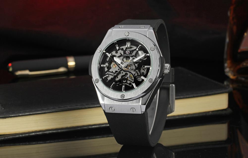 Forsining Fashion Man Silver Dial Hollow Mechanical Men's Wrist Watch Silicone Strap