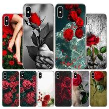 Coque de téléphone Apple à fleurs Roses rouges, étui de protection artistique pour Iphone 11 12 Mini Pro X XR XS Max 7 8 6 6S Plus 5 SE 7G 6G