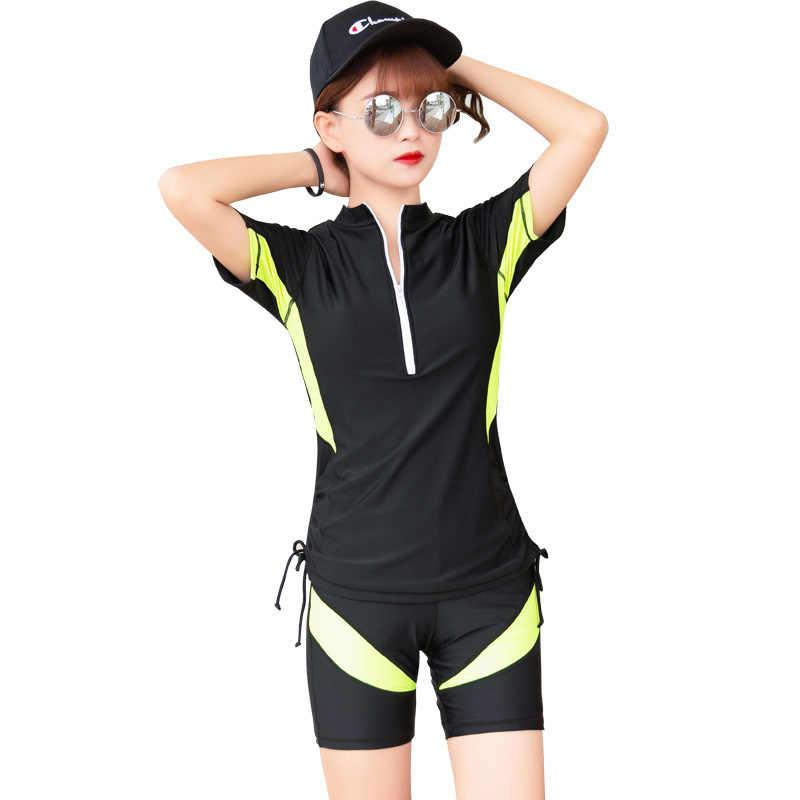 Kadın mayo sörf kısa kollu iki parçalı mayolar plaj şortu genç kadın streç yüzme giyim Rashguard