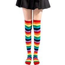 Gökkuşağı şerit diz uzun çorap kadın pamuk moda renkli yüksek kaliteli kadın bacak çorap Vintage Hip Hop kaykay çorap