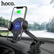 HOCO Qi Soporte de cargador de coche inalámbrico, clip infrarrojo automático, soporte de ventilación de aire para coche, Cargador rápido de 10W para iphone XS Max XR