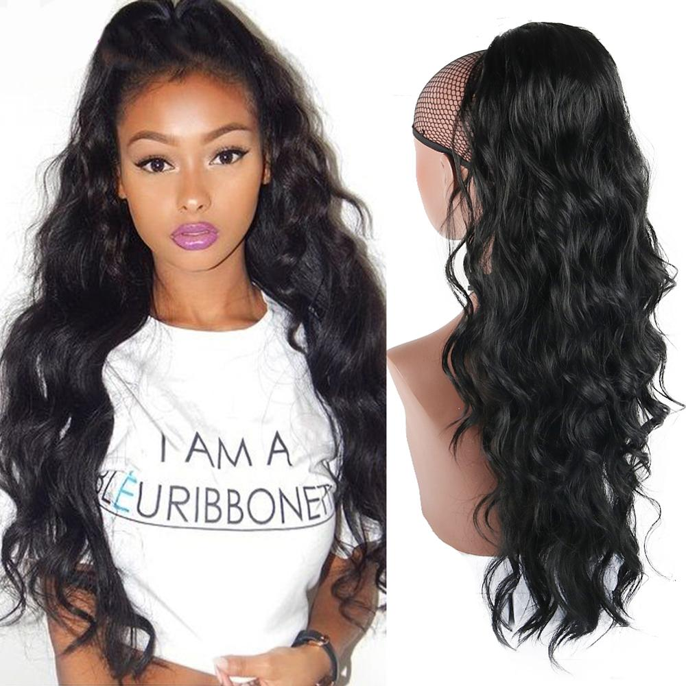 Afro Drawstring Body Wave Ponytail Synthetic Clip In Hair Extension  Ponytail African American Heat Resistant 24 Inch