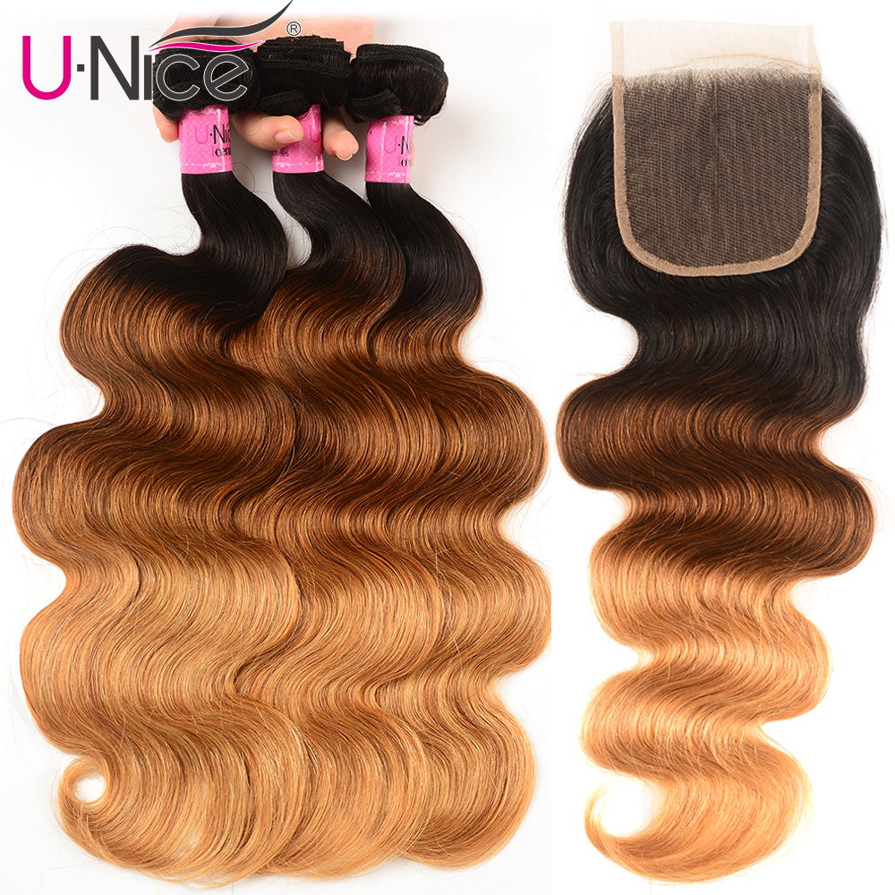 Unice Hair Ombre 3 Bundles With Closure 8-26