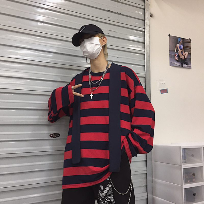 Autumn Winter New Striped Long Sleeve T Shirt Men 2019 Oversized Casual Fashion Clothes Korea Style Hip Hop Blue Red Streetwear