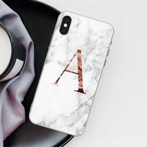 Image 2 - Letter Monogram A B C D white marble Soft silicone TPU Phone Case For iphone 5S 5 SE 6 6s Plus 7 7Plus 8 8Plus XS Max XR SE 2020
