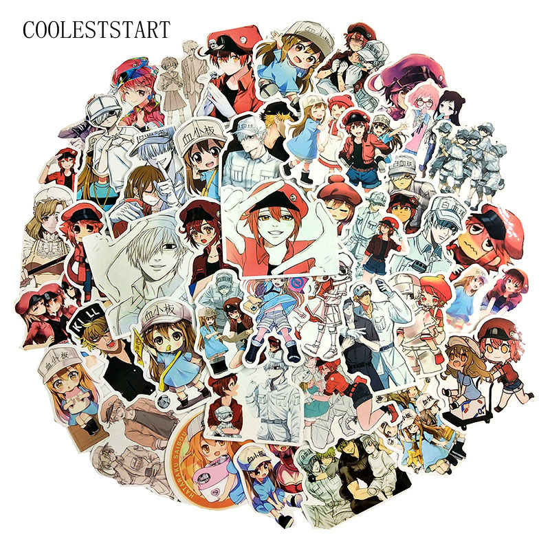 50Pcs/pack Anime Working Cell Black Stickers For Laptop Skateboard Motorcycle Suitcase Guitar Album Backpack Bike Anime Sticker