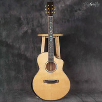 hand made full solid wood acoustic electric guitar high gloss cutway acoustic guitar free hard case high quality