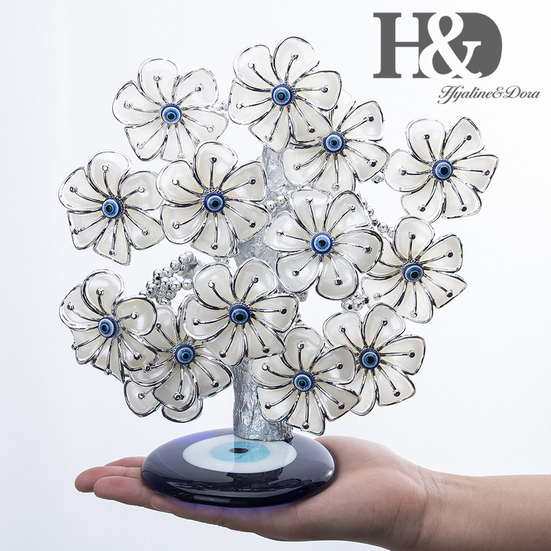 Image 4 - H&D Turkish Feng Shui Lucky Evil Eye Flower Tree For Protection Wealth And Achievement Good Luck Christmas Gift Home Decor ResinFigurines & Miniatures   -