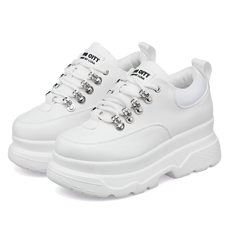 Sneakers Woman 2019 New Spring Fashion Platform Shoes Woman Casual Shoes Lace-Up Leather White Brand Chunky Sneakers For Women