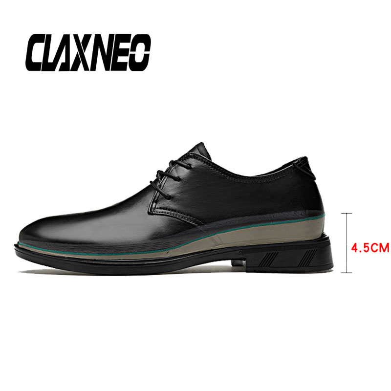 CLAXNEO Man Shoes Height Increased Male Leather Dress Genuine Mens Derby Footwear Wedding Shoe