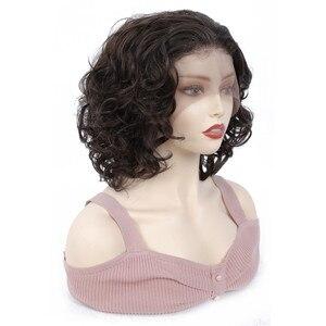 Image 4 - Perruque Lace Front Wig courte bouclée crépue, perruque frontale à dentelle synthétique, coiffure africaine, couleur marron ombré, X TRESS pour femmes noires