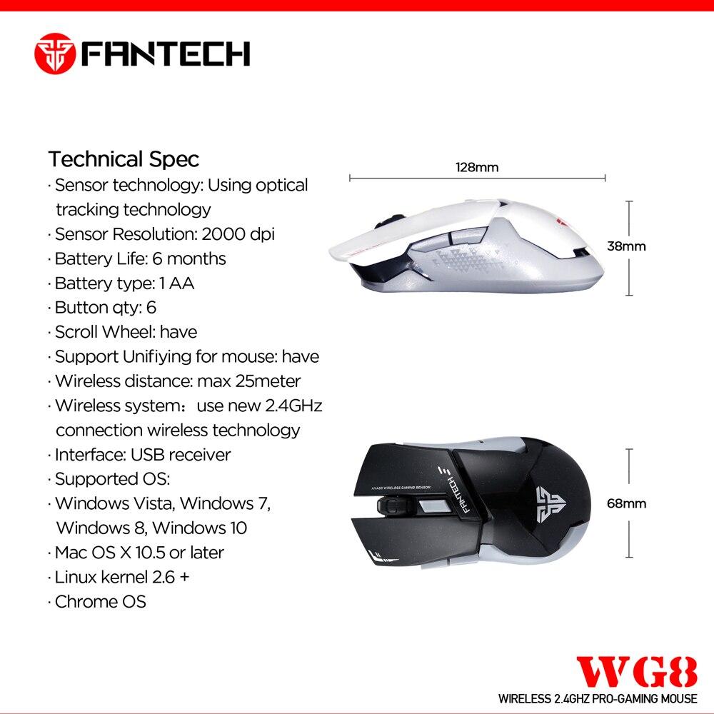 Image 4 - Fantech WG8 2,4G беспроводная мышь 6 кнопок 2000 dpi игровая мышь беспроводная мышь с приемником USB для ПК ноутбука-in Мыши from Компьютер и офис