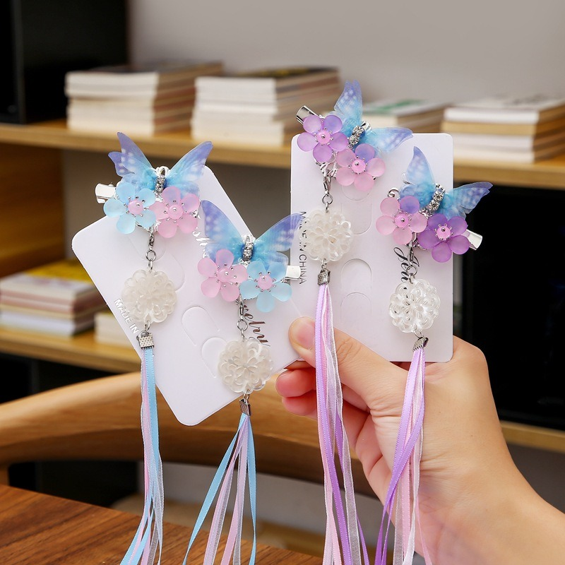 Children Adult Hanfu Headdress Antique Hair Accessories Ancient Ornaments Tassel Butterfly Girl Super Fairy Hairpin Hairpin Clip