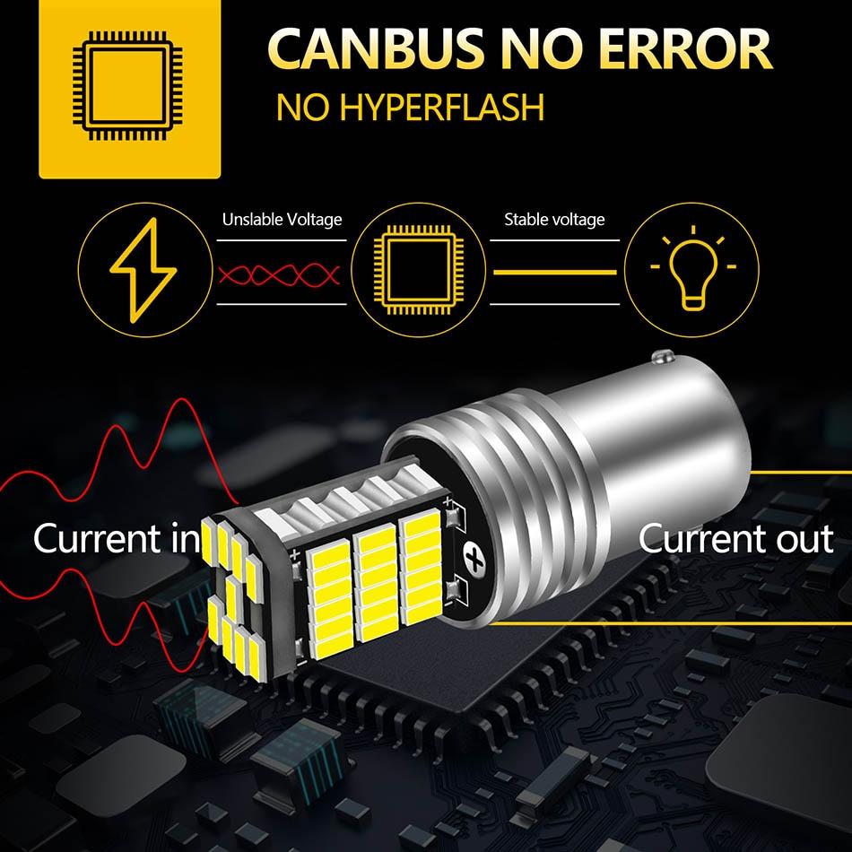 AILEO 2PCS 1156 BA15S P21W S25 7506 LED Bulbs High Power 45pcs 4014SMD Super Bright 1200LM Replace For Car Reversing Light White 3