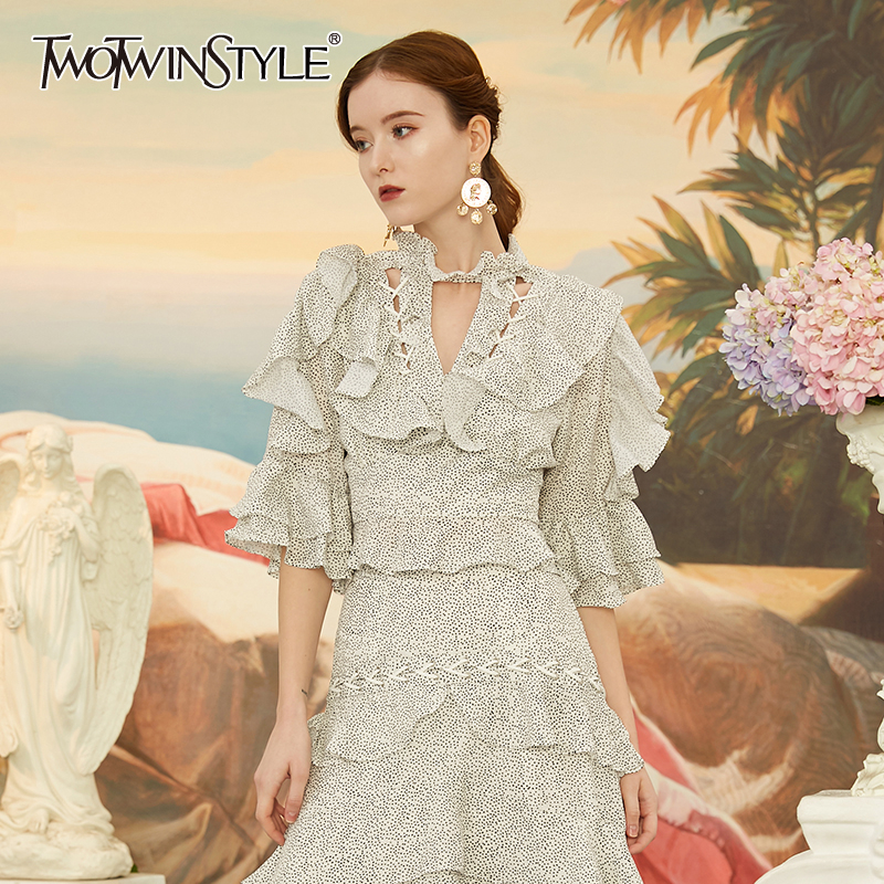TWOTWINSTYLE Elegant Ruffle Wave Point Hollow Out Women's Blouse O Neck Half Sleeve Backless Blouses Female 2020 Fashion Clothes