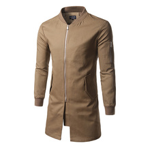 Windbreaker Mens  Slim Mid-length Solid Color Stand Collar Personality Youth coat Sleeve Zipper Decorative Coat