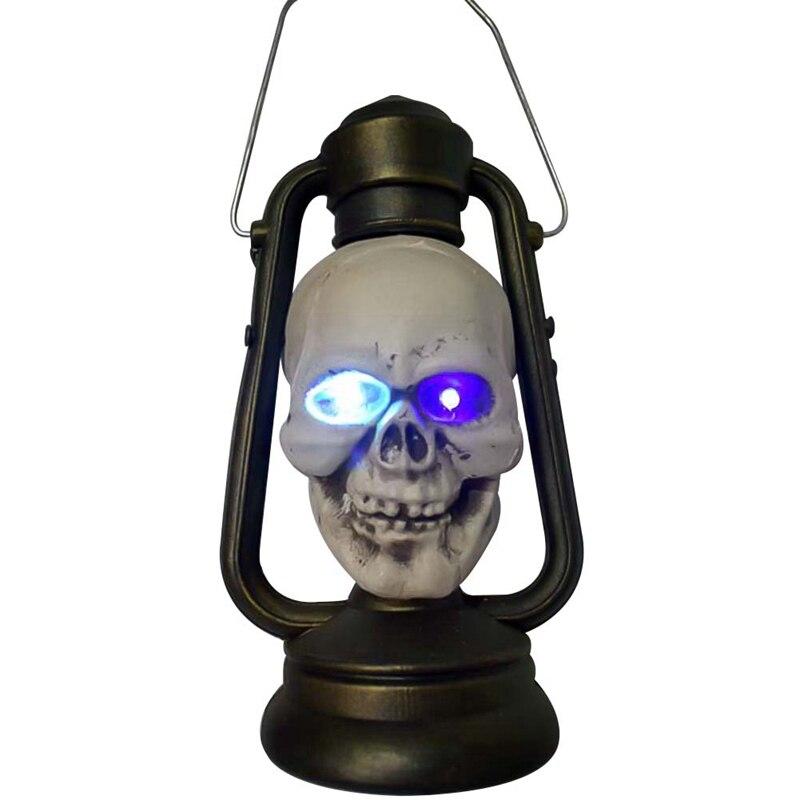 LED Colorful Halloween Lantern Lamp Portable Hanging Night Light Halloween Gift Skull Bar Room Escape Decoration Decoration