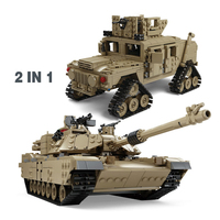 Military sets M1A2 Challenger II Main Battle Building Block Tanks WW2 Army Police Soldier Weapon Toys Gifts For Children Kids
