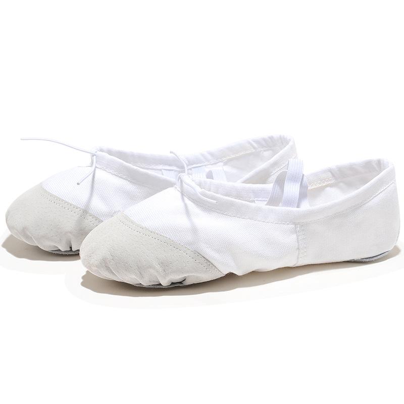 USHINE EU22 45 white leather head yoga slippers teacher gym indoor exercise canvas ballet dance shoes children kids girls woman