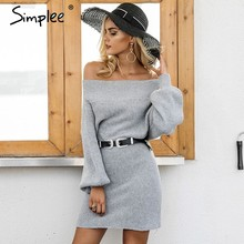 Simplee Off shoulder long knitted sweater dress Women elegant loose winter pullover dress Autumn batw sleeve gray sweater jumper(China)