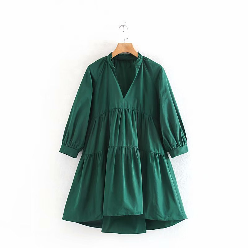 2020 Women V Neck Solid Color Pleats Casual Loose Vestidos Chic Mini Dress Office Lady Wear Lantern Sleeve Mujer Dresses DS3133