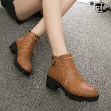 Plus Size 35-43 2019 Women Chunky Boots Short Plush Square Heels Ankle Boots Round Toe Zippers Spring Autumn Ladies Shoes цена в Москве и Питере