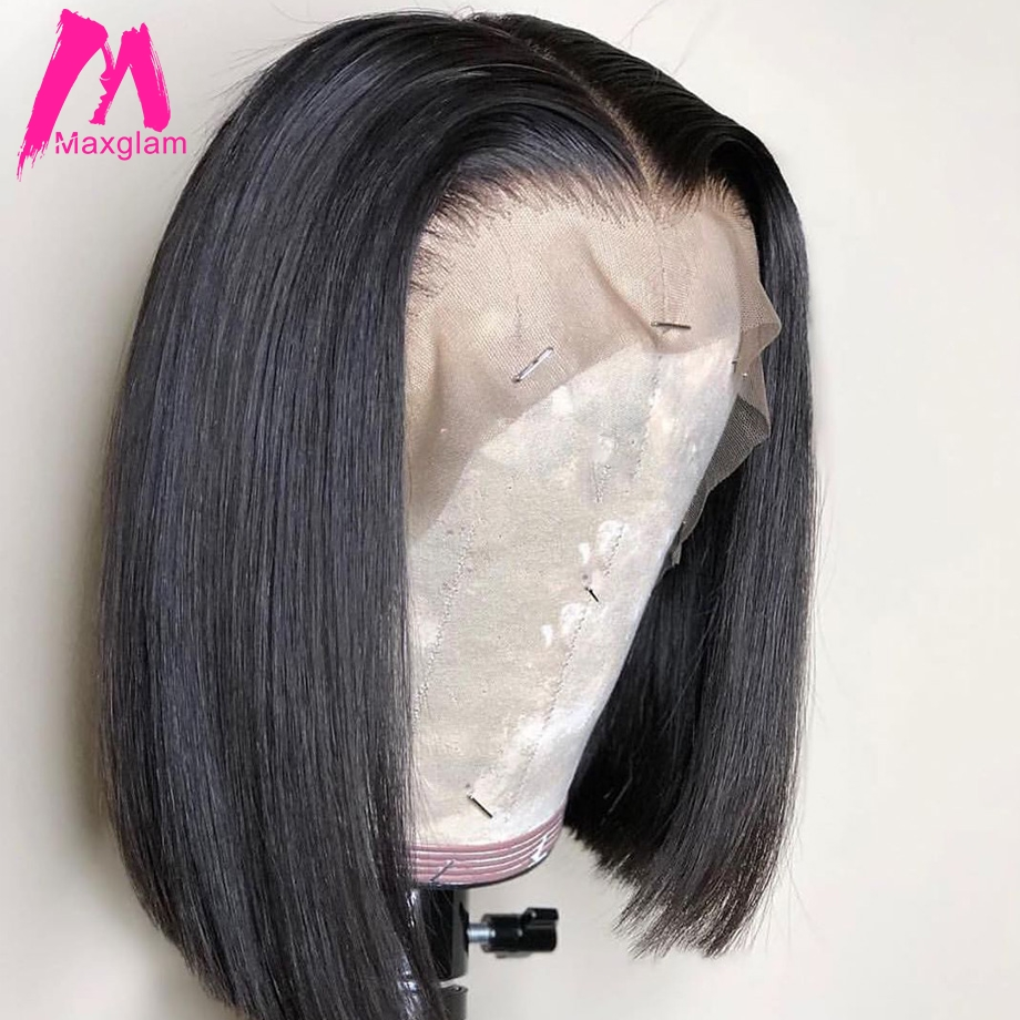 Brazilian Straight Short Bob Wig Lace Front Human Hair Wigs 13x4 Pre Plucked With Baby Hair For Black Women
