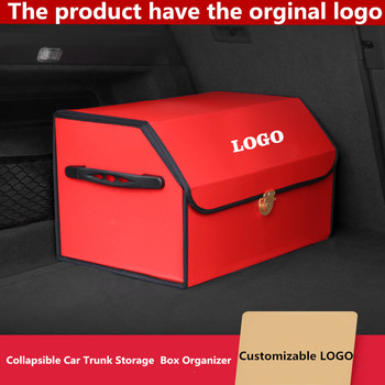Collapsible Car Trunk Storage Organizer Portable Car Storage Stowing Tidying PU Leather Auto Trunk Box Organizer for Mazda