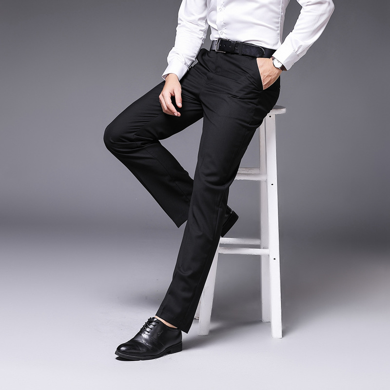 Men's Business Pants Men Suit Pants Spring Autumn Fashion Male Elastic Straight Formal Trousers Black Gray Navy Blue Color 2019