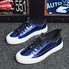 New Young Boy Casual Footwear Patent Leather Original Shoes Blue Silver Fashion For Men Elastic Band Flats Sneakers