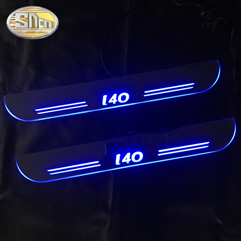 SNCN 4PCS Car LED Door Sill For Hyundai I40 2015 2016 2017 Ultra-thin Acrylic Dynamic LED Welcome Light Scuff Plate Pedal