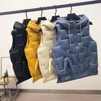 Autumn Winter Warm Solid Plaid Hooded Vest Pockets Women Casual Zipper Sleeveless Vest Jacket Cotton Plus Size Jacket