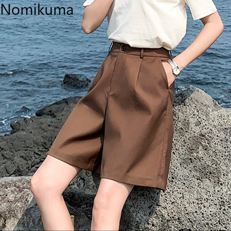 Nomikuma Casual Fashion High Waist Shorts Women Solid Color Suit Short Pants Female Korean BF Style Streetwear 2020 New 3a764